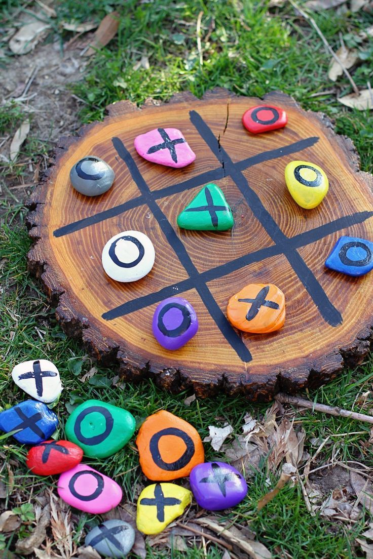 DIY tic-tac-toe painted rocks kids nature project craft