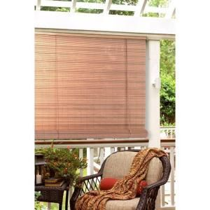 L Tan Woodgrain Interior/Exterior Roll Up Patio Sun Shade 0321267   The  Home Depot