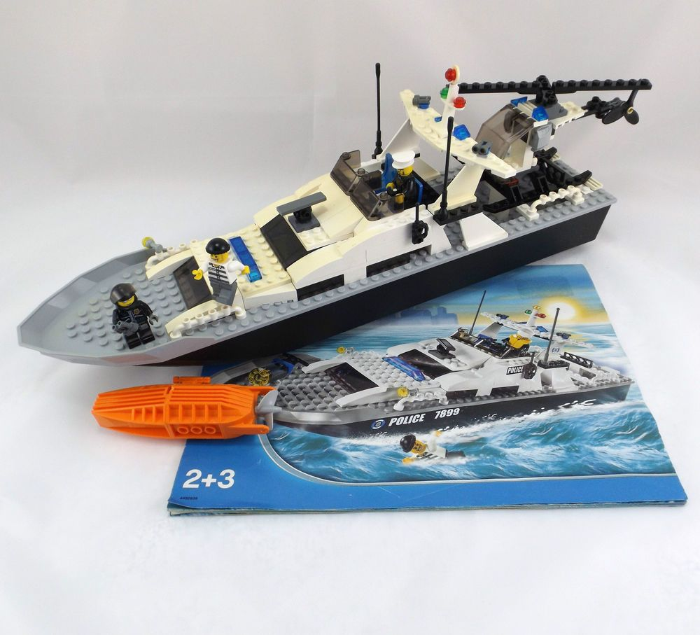 Lego City Police Boat 7899 Helicopter 3 Mini Figures Instructions No Box Lego Politie