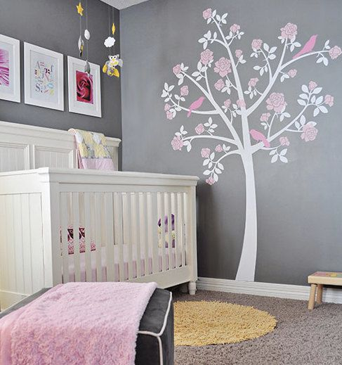 Tree Wall Decals –  Rose Tree from Apartment Therapy – White Grey Pink Nursery for Baby Girl – Gray