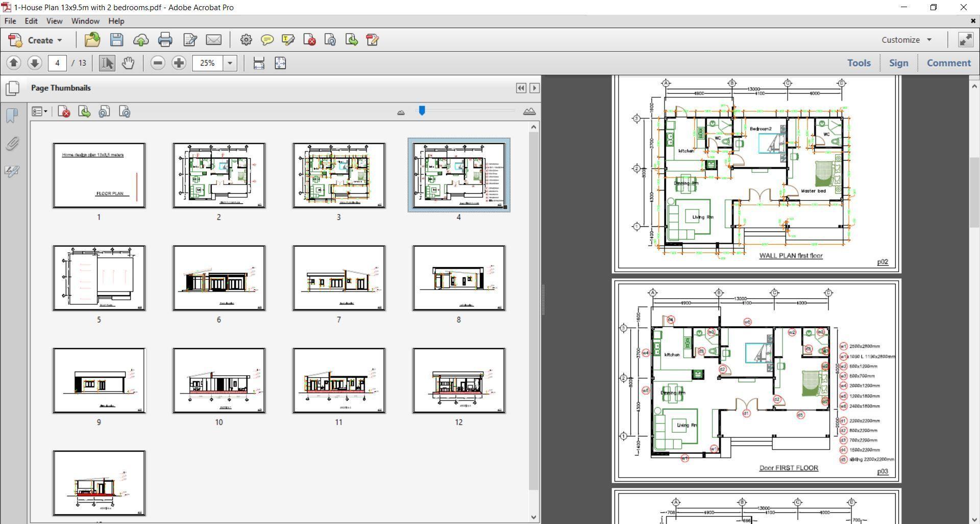 House Plans 13x9 5m Full Plan 2beds House Plans Free Downloads House Design 3d Interior Design House Plans
