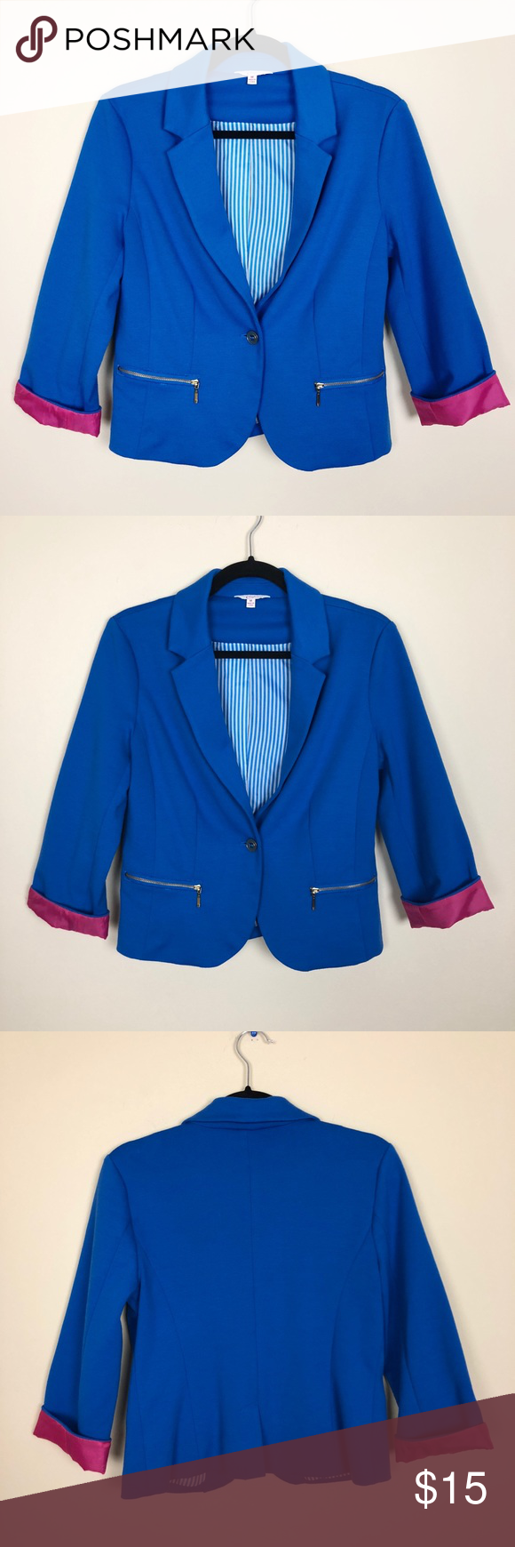 7564a7362ebc9 Candies   Blazer Blue blazer from Candies. Has pink cuffs that can be  flipped up or worn down. Great pre owned condition. Size medium Candie's  Jackets ...