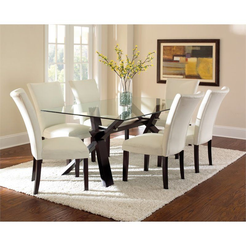 Steve Silver Berkley Glass Top Dining Table in Espresso