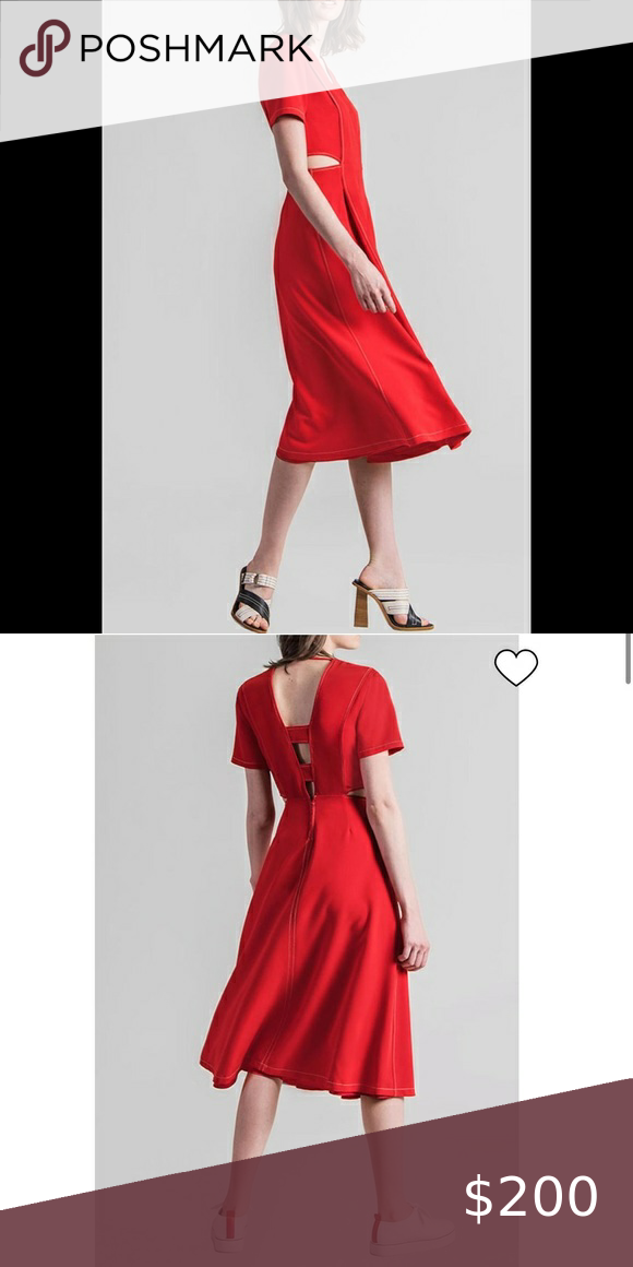 Misha Nonoo Cut-Out Midi Dress Misha Nonoo NWT Size 2 Short sleeve poppy-red dre…