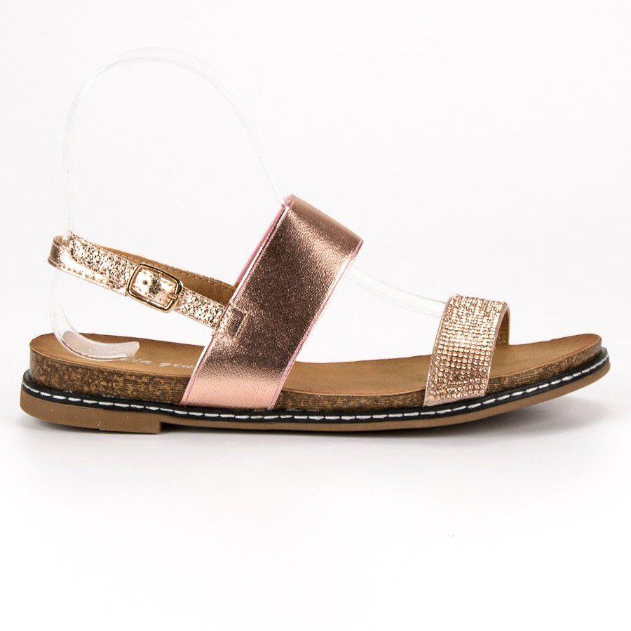 Via Giulia Plaskie Sandaly Ze Sprzaczka Rozowe Shoes Sandals Fashion