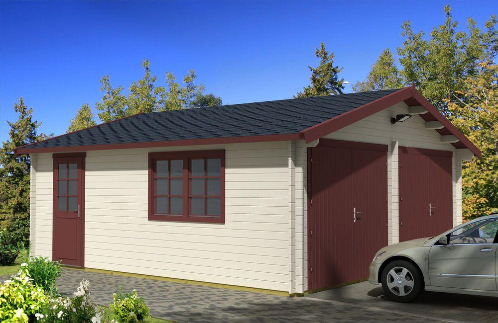 Log Garage D2 19.5 ft. x 17.42 ft. x 10 ft. Wood Log