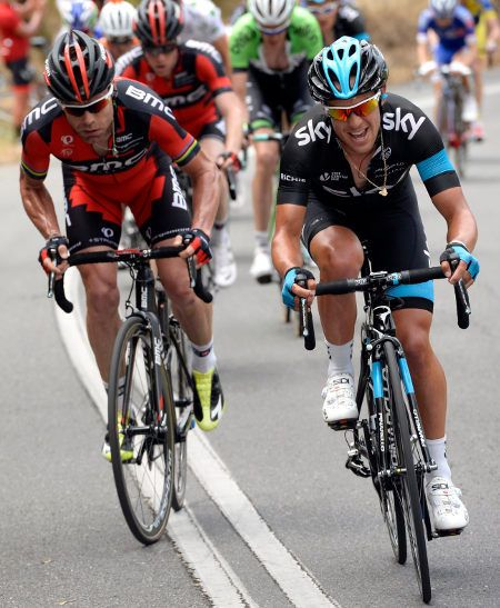 Tour Down Under, Australia, 2014/01 : Cadel Evans and Richie Porte go at it mano y mano. Photo: Bettini
