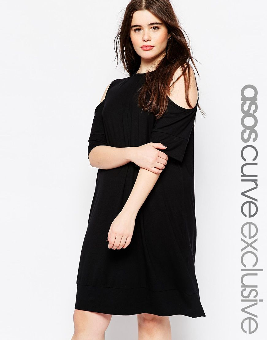 42a16a6678c ASOS CURVE T-Shirt Dress with Cold Shoulder