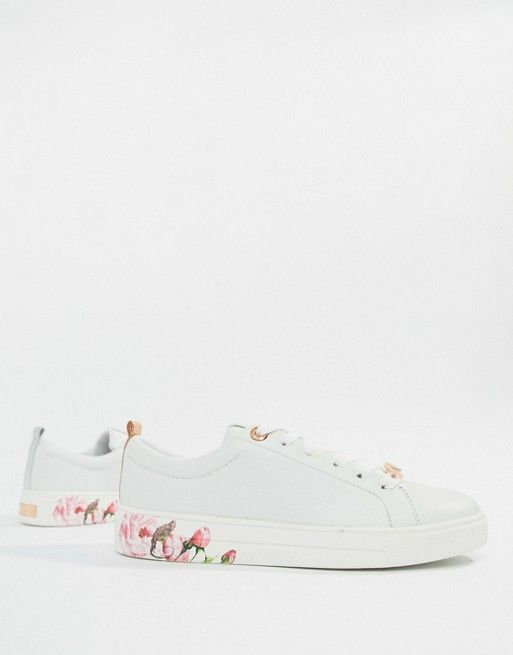 6448589d1a4 Ted Baker White Leather Sneakers With Floral Sole in 2019 | Ted Baker