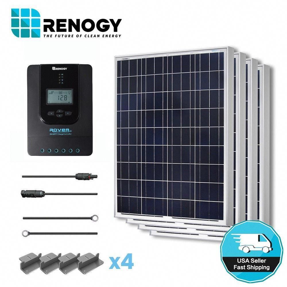 Renogy 400 Watt 12 Volt Polycrystalline Off Grid Solar Starter Kit For Solar System With Mppt Charge Controlle In 2020 Solar Energy Solar Technology Solar Power Panels
