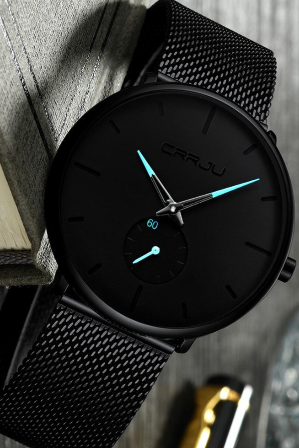 Minimalist Watch With Blue Detail Is Simply Understated Elegance With A 40mm Case A Mens Watches Waterproof Mens Watches Affordable Mens Watches Minimalist
