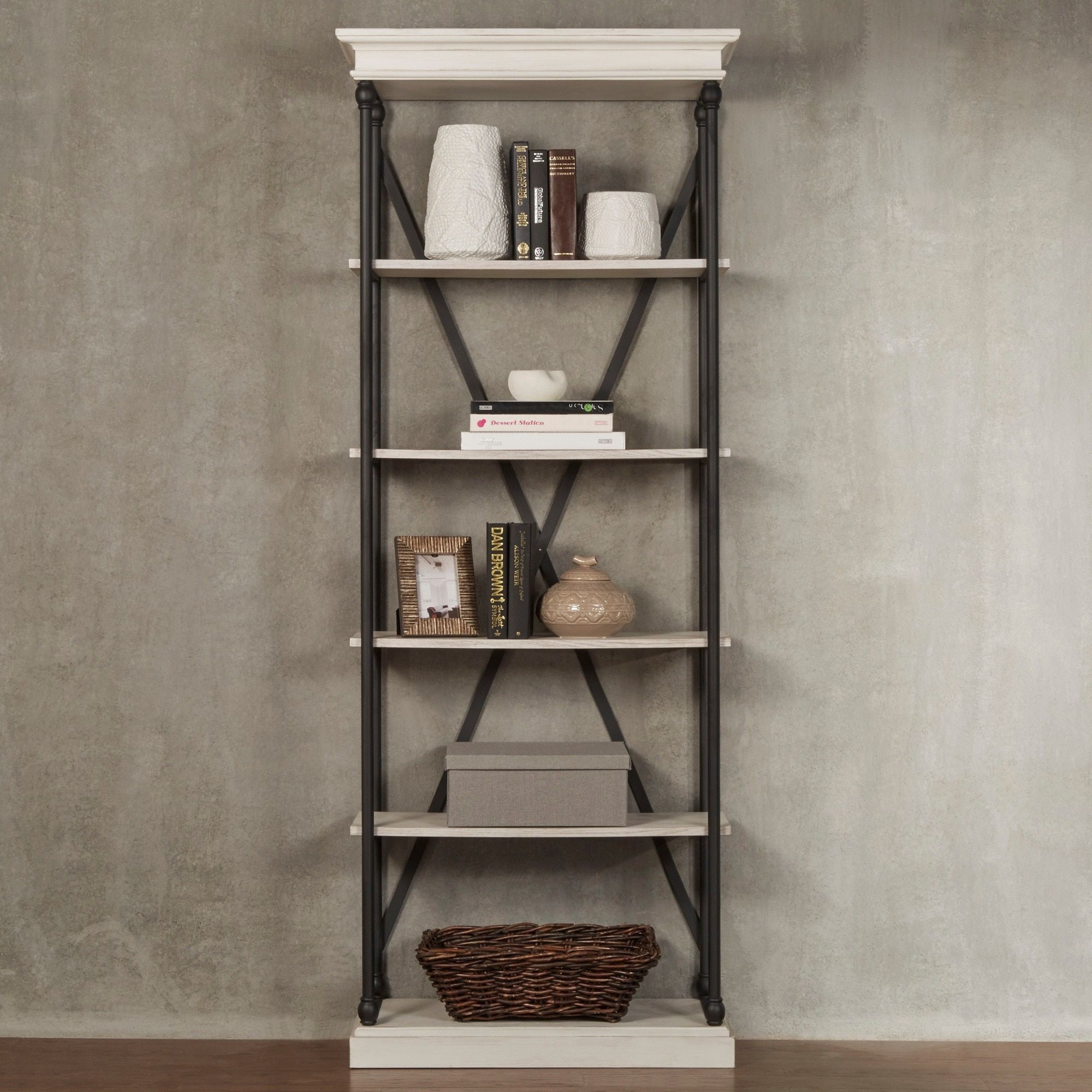 Barnstone Cornice Etagere Bookcase by iNSPIRE Q Artisan (Antique White  Finish)
