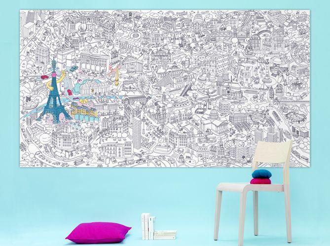 coloriage géant enfant bleu Chambre d\u0027enfants Pinterest