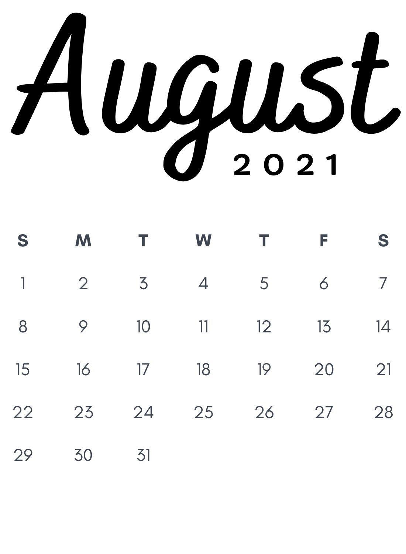 Calendar August 2021 Template Background