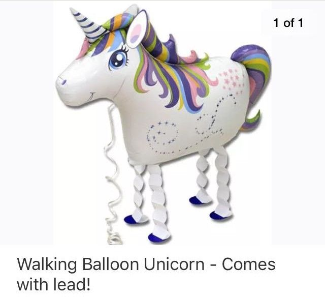 Comes with lead! Walking Balloon Unicorn