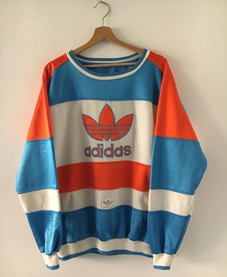 80981230a Adidas Mixed Color panel/Colorblock, red, white, light blue stripe  sweatshirt
