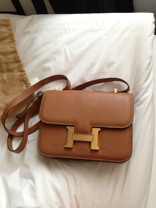 0186f7218966 tan  hermes bag with  gold buckle yes pleaseee