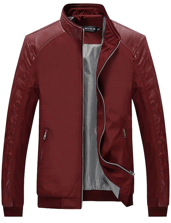 Men S Color Block Slim Casual Thin Lightweight Jacket Red Cd12lu36m4z Leather Jacket Men Best Leather Jackets Lightweight Bomber Jacket [ 1500 x 1154 Pixel ]