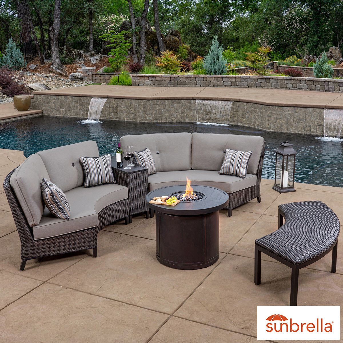 Sunvilla Riviera 5 Piece Woven Fire Sectional Seating Set Patio