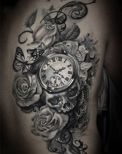 grandfather clock face tattoo. clock skull gears and rose tattoos on rib grandfather face tattoo pinterest