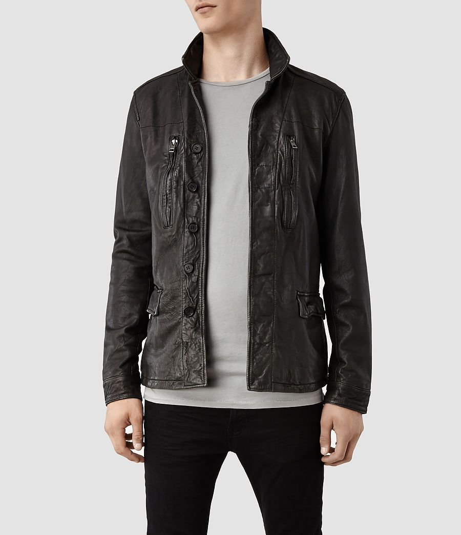 7ebc79f27 Mens Melville Leather Jacket (Anthracite) - product_image_alt_text_1 ...