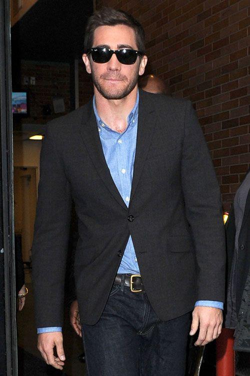 Jake Gyllenhaal wearing a denim shirt under a suit jacket - very Armani a/w 2012