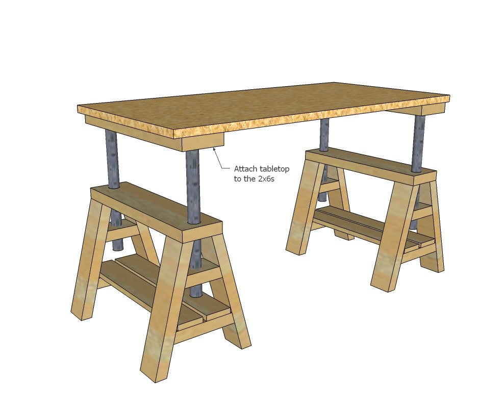 Ana white build a modern indsutrial adjustable sawhorse for Simple workshop table