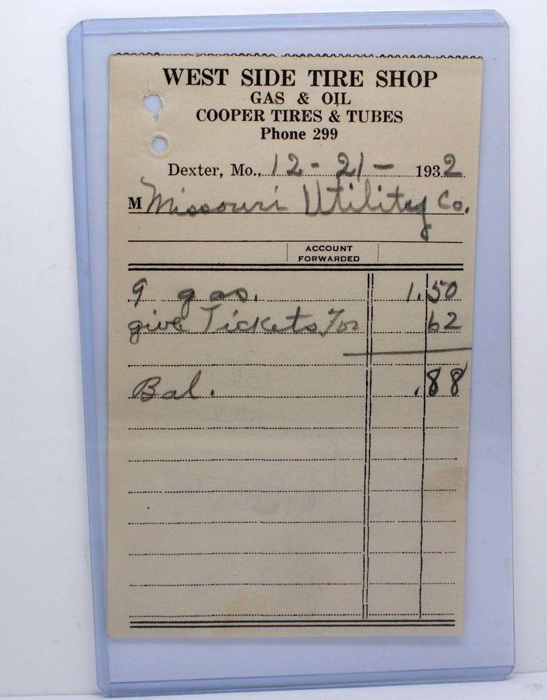 rare 1932 ephemera receipt west side tire shop dexter missouri