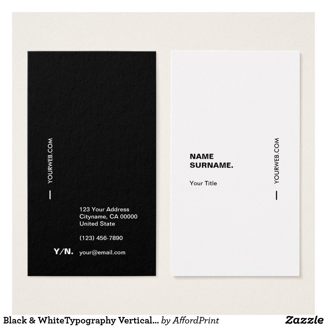 Black Whitetypography Vertical Business Card Zazzle Com Business Cards Layout Vertical Business Cards Minimalist Business Cards