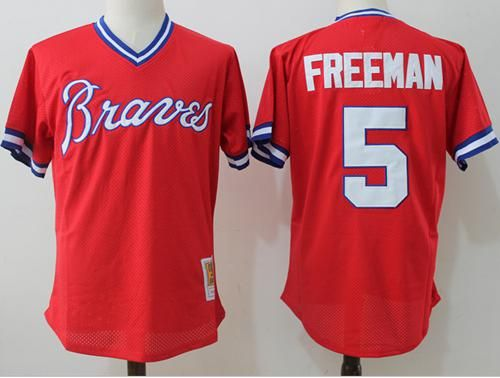 mitchell and ness braves 5 freddie freeman red throwback stitched mlb jersey