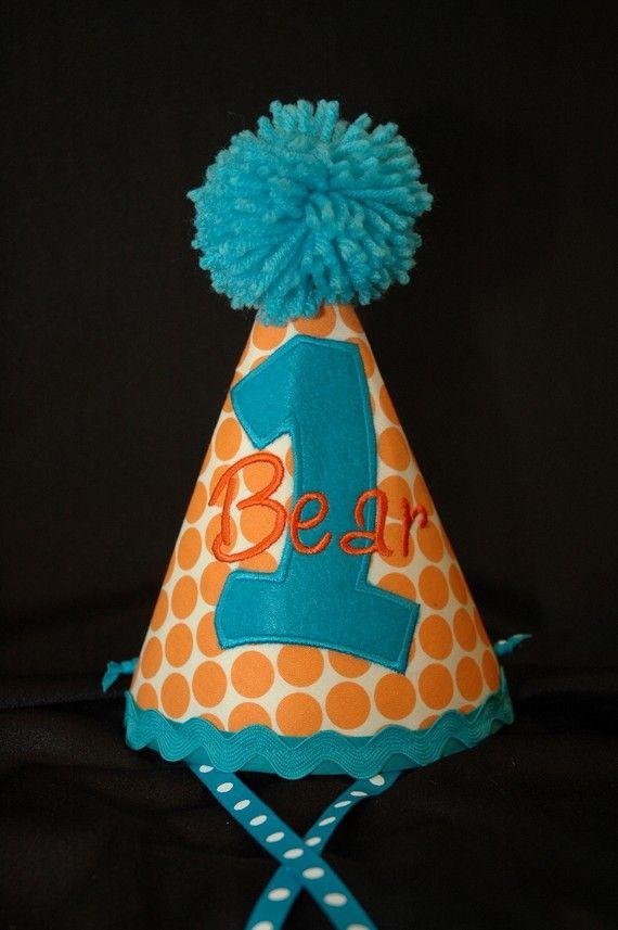 birthday part hat first birthday party hat orange polka dot and