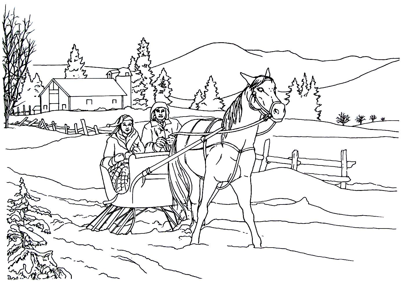 Enjoying A Sleigh Ride Living In The Country Coloring Book Page Coloring Pages Sleigh Ride Coloring Book Pages [ 975 x 1402 Pixel ]