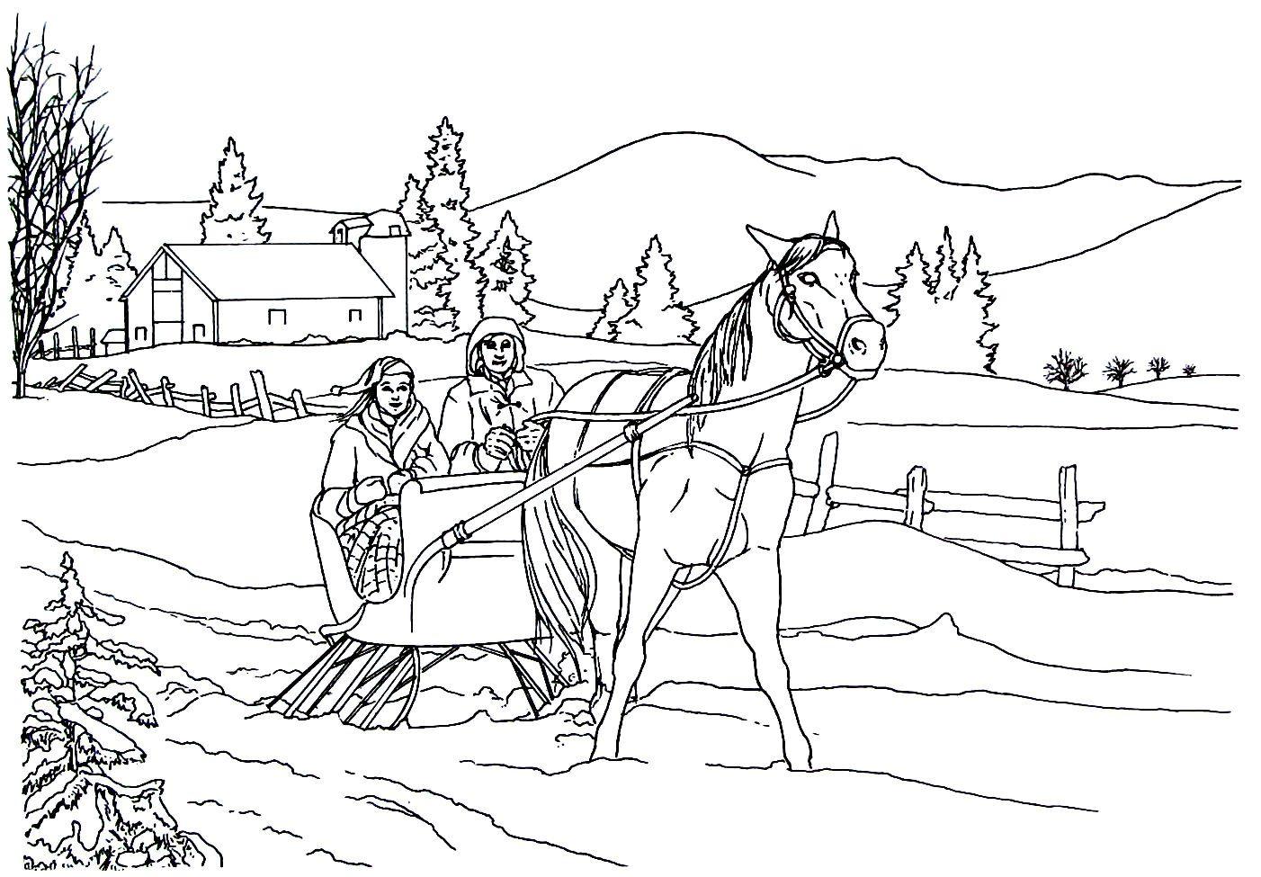 Santa Claus And Sleigh Coloring Page Santa Coloring Pages