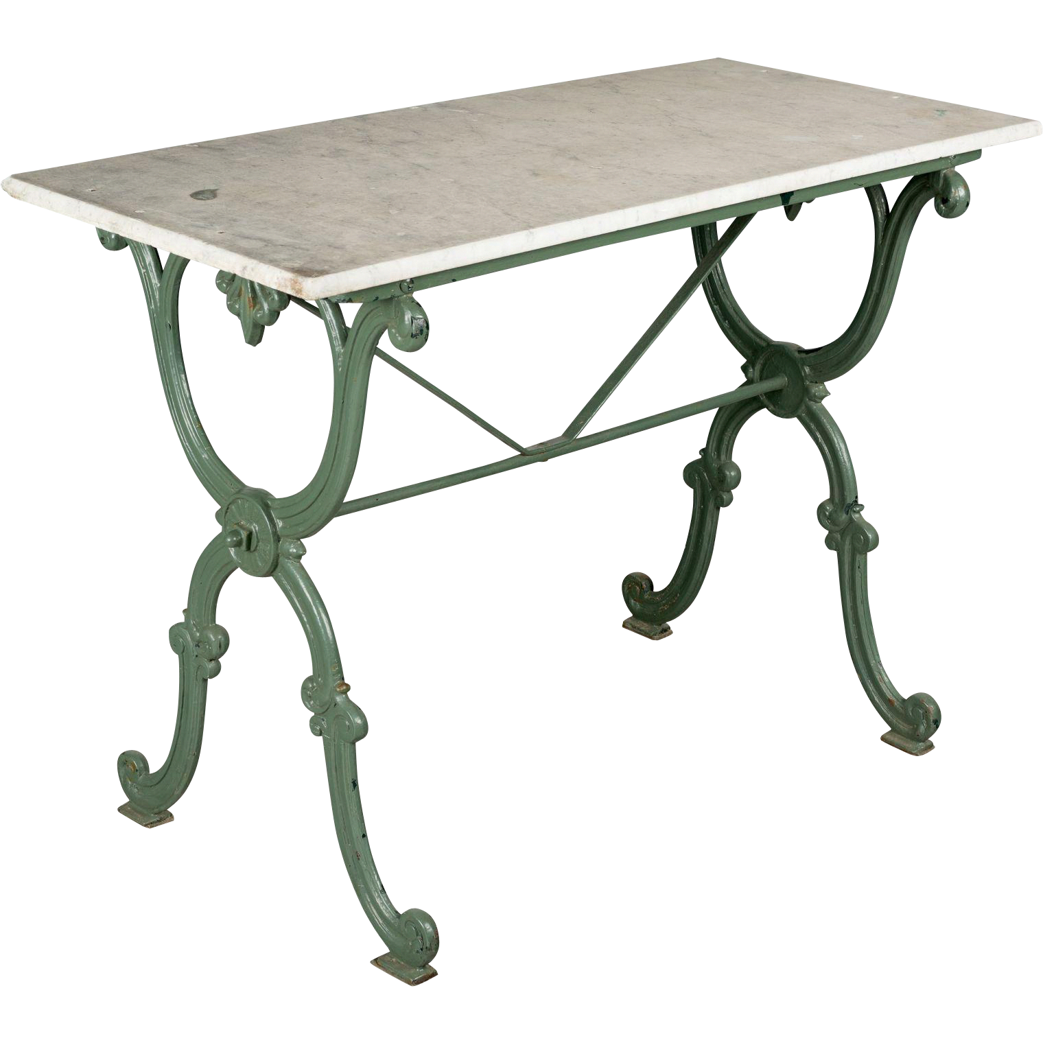 19th c french cast iron bistro table with green painted patina and rh pinterest at