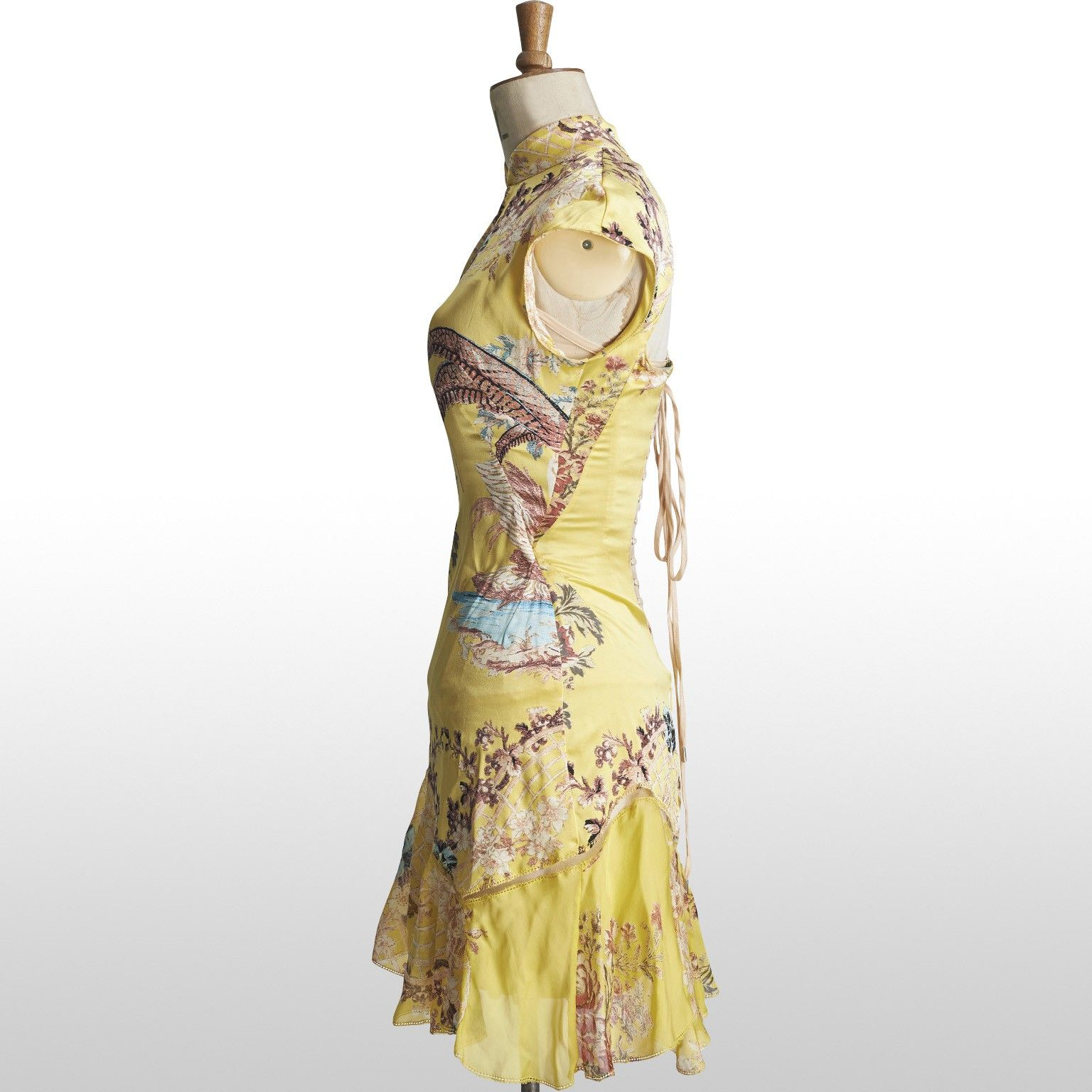 Roberto Cavalli (2003) Canary Yellow Silk Floral Chinoiserie Print Mini Dress - RUNWAY - Size S