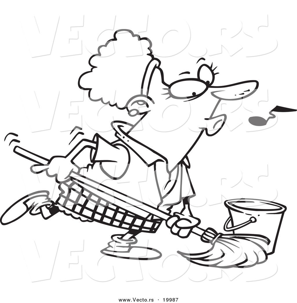 Vector of a Cartoon Woman Whistling While Mopping