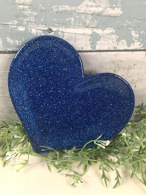 Blue Glitter Resin Trinket Dish