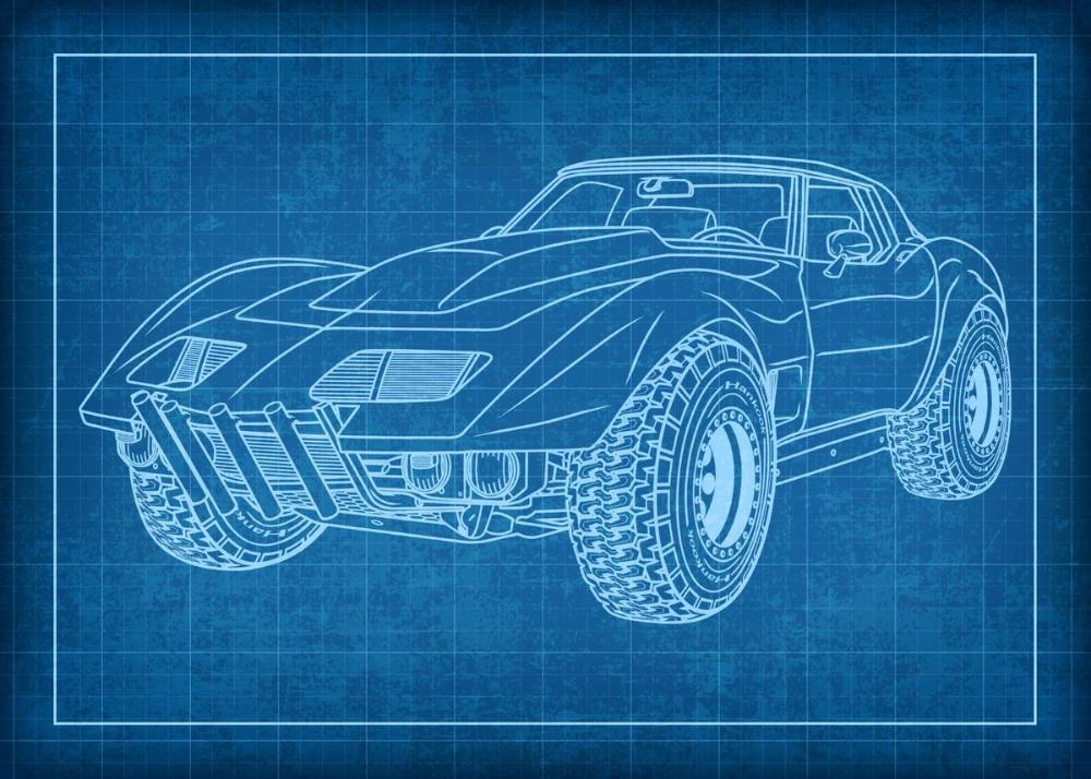 Car Blueprint Wall Arts