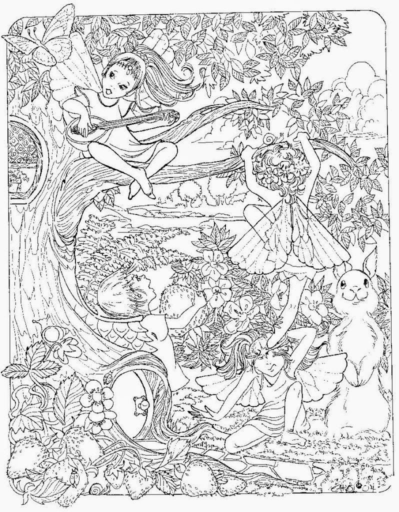 Fairies In The Trees Coloring Page Detailed Coloring Pages Fairy Coloring Pages Fairy Coloring