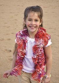 This Funfetti Girl''s Vest is a bright, colorful pattern from Love of Knitting.