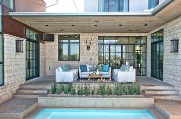 Patio Pool With Linear Fire Pit Design Ideas Pictures