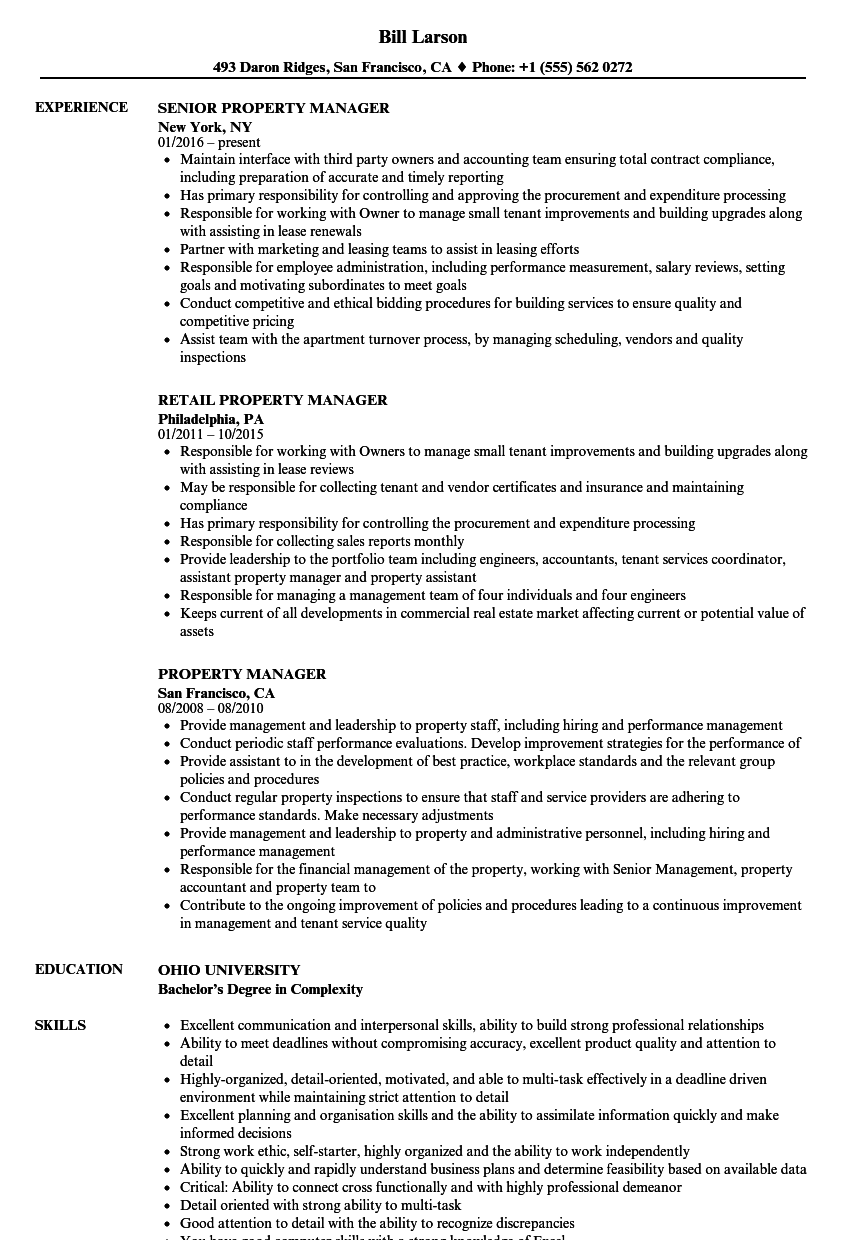 Property Manager Resume Project Manager Resume Job Resume Examples Resume Examples