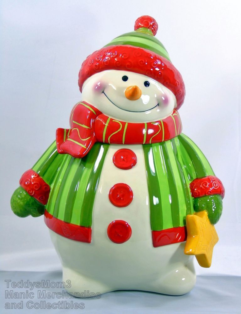 Cute! What a sweet face! Fitz and Floyd Snowman Cookie Jar Holiday