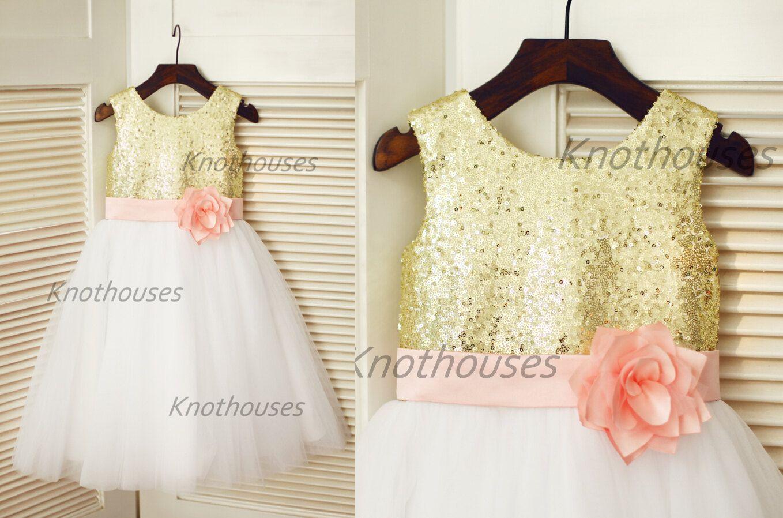 Blush pink girl dress  Gold Sequin IvoryTulle Flower Girl Dress Blush Pink Flower Belt