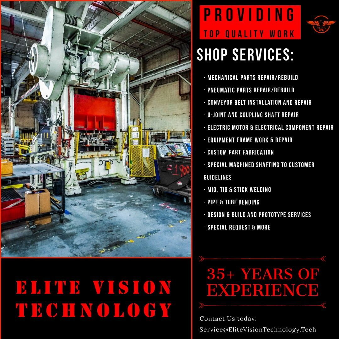 Elite Vision Technology is now providing machine shop