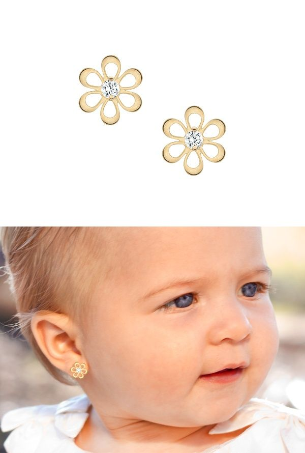 Baby Earrings Kids Flower Silhouette Keepsake