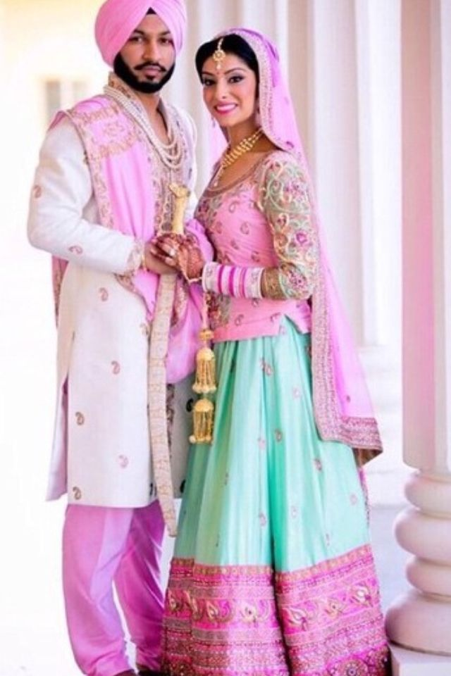 Absolutely In Love With The Pink And Sea Green Color Combination Of Bride Groom Design S Lengha So Perfect