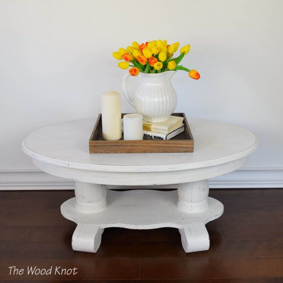 Oval White Coffee Table Painted And Distressed In White Chalk Paint Antique Restored Side Table Cottage Chic Home Office Furniture Design Pallet Furniture Daybed Woodworking Furniture Plans