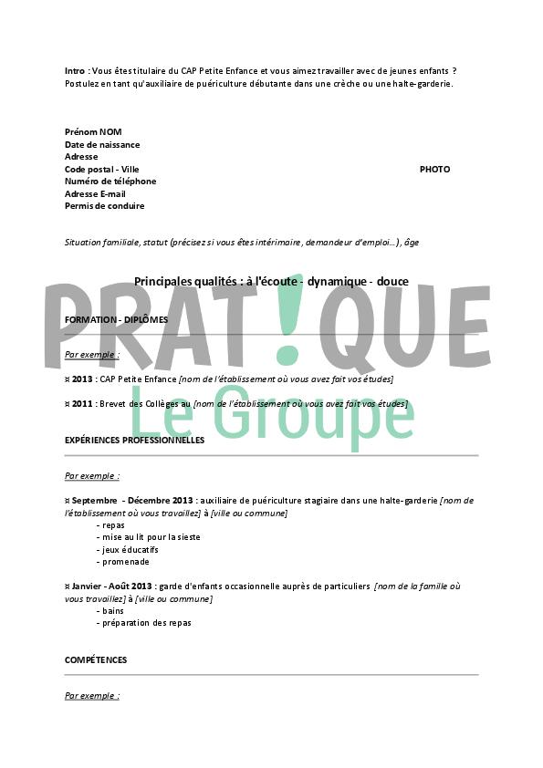 Exemple De Cv Auxiliaire De Puericulture Exemple Cv Exemple Lettre Motivation Modele Lettre De Motivation