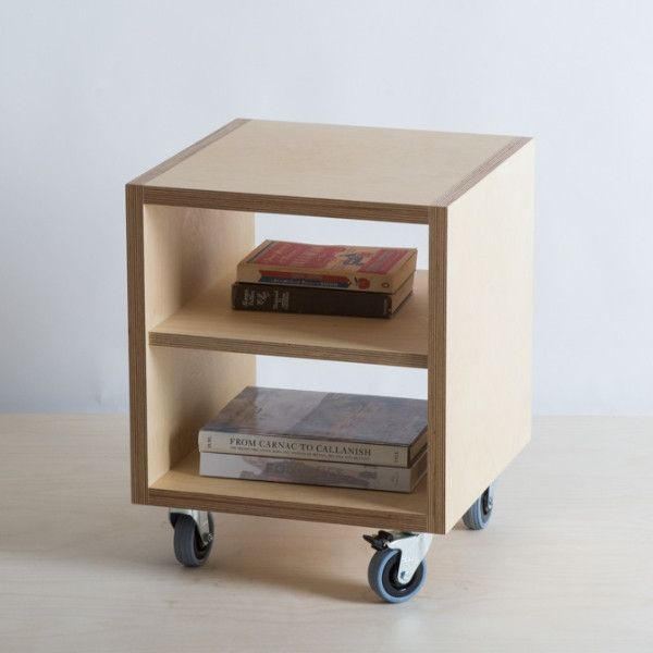 Plywood bedside table cabinet shelf wheels the for Plywood bedside table